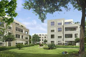 """""""Wohnen im Park"""" lautet der Gestaltungsansatz des Stadtvillenensembles. Wichtig waren den Architekten die Beziehungen zu den Grünräumen"""