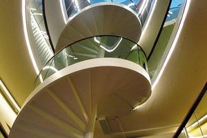 Lichtkuppeln lenken Tageslicht über die organisch geformten Treppenhausanlagen bis ins EG