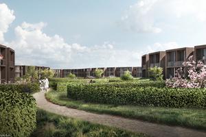 Hecken im Garten auf dem zweiten Geschoss der Klinik schaffen privaten Raum in den Patientenzimmern, die wie Häuser anmuten