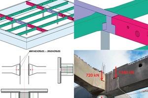 Abb. 7: Planung und Ausführung des Knotenpunktes eines Trägerrosts aus Betonfertigteilen