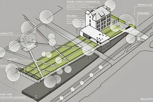 """<div class=""""2.6 Bildunterschrift"""">Die neue Außenanlage nimmt Bezug auf den alten Schulgarten der ehemaligen Gartenbauschule</div>"""