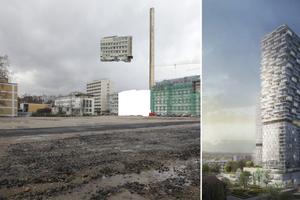 Links: der Bauplatz demnächst mit einer Fehlstelle im Bestand. Rechts: der Hybrid-Tower ab 2019
