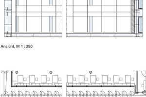 Die 203 Sonnenschutzlamellen sorgen dafür, dass in den Räumen des Hörsaal- und Medienzentrums der TU Darmstadt die positiven Einflüsse des Tageslichts erhalten bleiben und Blendung und Überhitzung vermieden werden. Eine Astrosteuerung sorgt für eine optimale Ausrichtung der Großlamellen an der Süd- und Westfassade