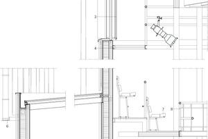 """<div class=""""9.6 Bildunterschrift"""">Fassadendetail, M 1 : 50</div><p>1Dachaufbau:<br />PVC-Dachbahn<br />Hartdämmung<br />Dampfsperre<br />Schichtholz<br />2Negativvolumen für natürliche Belüftung<br />32-fach-Verglasung mit motorisierter, transluzenter Textilverschattung<br />4gebogenes Stahlblech aus verzinktem Stahl<br />5oberes Auflager mit Spanngurt für 12 bzw. 8m Bambuslatten<br />6Auflager aus verzinkten Platten mit Spanngurt für 12m Bambuslatten<br />Abstandshalter für Entwässerung<br />7Stuhlreihe im Auditorium<br /> 3-lagiges Lärchenholz<br />8Verzinktes Stahlgeländer mit Eichenholz ausgefacht<br />LED Beleuchtung<br />9Wandaufbau:<br />Latten aus unbehandeltem Lärchenholz 45° 40mm <br /> wasserdichte Vliesbeschichtung <br /> Schichtholz für Zinkrinne mit lackierter Aluminiumkappe 2x15mm<br /> Dämmung 149 mm in Rahmen aus Kieferholz mit Dampfsperre <br />Band akustische Entkopplung<br />Brettschichtholz 190 mm, vakuumgepresst für gebogene Form<br />10Abdichtungsbahn gegen Stahlbetonsockel und Kompaktdämmung<br />11Bodenaufbau:<br />sechseckiges Hirnholz aus Eiche auf Estrich<br />Betonplatte<br />Dämmung 150 mm<br />Spundwände mit Beton<br />Dämmung 150 mm<br />Abdichtungsbahn<br />Umfassungswand 200 mm</p>"""