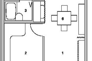 Regelgrundriss 1 (20m²), M 1:100