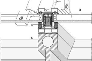 Detail, M 1:5<br />Beheizte Fassadenprofile: In den Stahlprofilen der gläsernen Hülle sind Rohrleitungen ausgespart, durch die auf einer Gesamtlänge von 7,3 km 36 °C warmes Wasser fließt<br /><br />