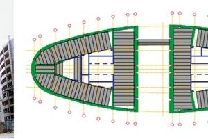 Abb. 4: 26-stöckiges Hochhaus mit elliptischem Grundriss aus Betonfertigteilen (aus [2])