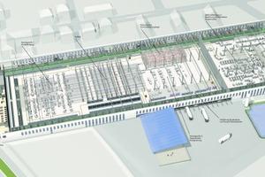 Die Halle ist so groß wie zwei Fußballfelder. Die Produktionshalle ist 280 m lang, 75m breit und 12m hoch. die Produktion findet auf 18.000m² statt, die gesamte Nutzfläche beträgt 26.000 m²<br />
