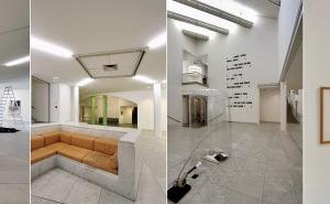 """links: Das Foto hinter Wilfried Kuehn zeigt Holleins kulturhistorische Ausstellungsinszenierung: """"Alles ist Architektur. Eine Ausstellung zum Thema Tod"""".<br />oben: Ausstellungsansichten im Hollein-Museum Abteiberg, Mönchengladbach"""