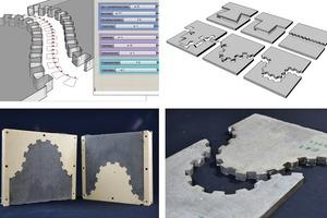 Abb.5: Parametrisch gesteuerte Entwicklung von Fügeprinzipien im 3D-Programm und hochpräzise Herstellung mittels CNC-gefräster Wachsschalung