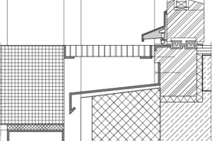 Detail: Schwellenfreier Übergang bei vorgesetzter Balkonkonstruktion<br />