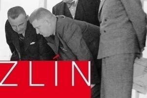 Le Corbusier (re) und J.A. Baťa (li) mit Mitgliedern der Jury des internationalen Wohnungsbauwettbewerbs