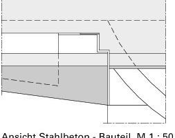 Ansicht Stahlbeton-Bauteil, M 1:50<br />