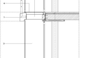<p>1Aluminium-Kantblech 2IPE 270 thermisch getrennt<br />3Conmfort-Fassade: Schiebedrehsystem SL 25 XXL, </p><p>10 mm ESG, Flügelhöhe 2,97 m<br />Glas-Faltwand SL 65, </p><p>Holzart:europäische Eiche<br />4Gitterroste<br />5Isolierung Rc = 2,05 m²/W, </p><p>Aluminiumblechverkleidung</p>