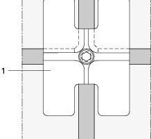 Detail Seilklemme, Eckhalter Ansicht Punkthalter<br />