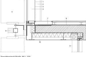 Vertikaler Fassadenschnitt Straße, M 1: 17,5
