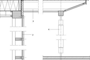 <p>1Dachaufbau</p><p>Gründach auf Kiesbett D = 80 mm<br />Dachabdichtung 5 mm<br />Rauspundschalung 40 mm<br />Zellulosedämmung WLG 040/Träger 360 mm<br />U-Wert = 0,107 W/m²K<br />Dampfbremse 1 mm<br />2Pfosten-Riegel-Fassade<br />Holzfenster mit Purenitdämmkern und 3-fach-Wärmeschutz-verglasung<br />Ansichtsbreite 76 mm<br />U<sub>Glas</sub> = 0,54 W/m²K<br />U<sub>Rahmen </sub>= 0,78 W/m²K<br />g-Wert = 0,52<br />3Dokaträger durchlaufend<br />Insektenschutz<br />Faserzementtafel, hinterlüftet<br />Wandanschlusspaneel U = 0,85 W/m²K<br />4Stütze ø 16 BS II</p>