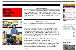 """Früher Hinweis auf Schwierigkeiten an Bord: Die (nicht mehr) aktuelle News auf der Homepage von """"Form"""": """"Der Birkhäuser Verlag in Basel ... befindet sich derzeit in einer Umstrukturierungsphase."""""""