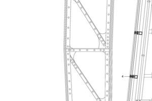 Detail, M 1:25<br />Die Stahlprofile wurden mit dem Kran zwischen historischen Stahlträgern und Baugerüst eingefädelt und als Pfosten-Riegel-Konstruktion zu einem 4500 m² großen Gitternetz zusammengeschweißt<br />