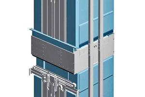 Doppeldeck-Aufzug mit aerodynamischen Kabinenverkleidungen für höchste Transportkapazität