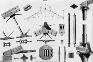 Polonceau-Träger der Central Markthalle in Wien, studentische Bauaufnahme von 1869