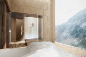 Duschen vor freiem, grandiosem Landschaftspanorama