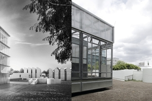 Ansicht Designmuseum Bauhhaus, Turm im Westen des Bestandes, rechts Baufeld, zurzeit noch besetzt