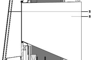 Detail Dachschnitt, vertikal, M 1:15<p>1Decke, Europäische Eiche </p><p>2Stahlkonstruktion IPE</p><p>3Dachdeckung aus Sperrholz ,wasserbeständig</p><p>4Fassade Hartholz</p><p>5Fassadenverkleidung; Einscheibensicherheitsglass </p><p>6Oberlicht</p>