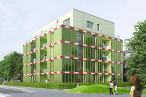 Das erste Algenhaus der Welt im Hamburger Stadtteil Wilhelmsburg, das BIQ, verfügt über etwa 200 m² aktiven Fassadeanteil mit Bioreaktoren<br />