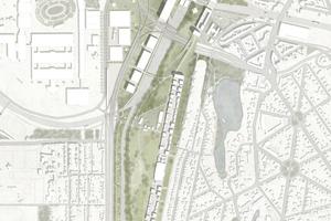 Für die Flächen rund um das Westkreuz werden drei Quartiere vorgeschlagen, die als langgestreckte Bänder vor den bestehenden Stadtkanten liegen