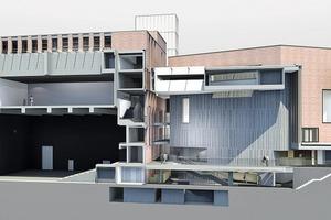 Zwei verschränkt gegeneinander gestellte Auditorien formen einen trapezförmigen Innenraum, der auf allen Ebenen Zugang zu den unterschiedlichen Räumlichkeiten für Kunst und Kultur herstellt