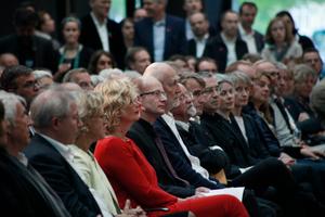 Der Ausgezeichnete zwischen dem BDA-Präsidenten Heiner Farwick und seinem Laudator, Dr. Werner Oechslin