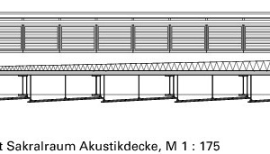 Detailschnitt Sakralraum Akustikdecke, M 1:175