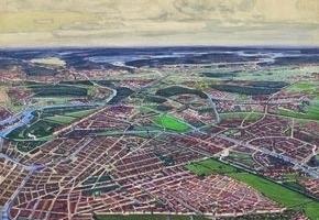 """Themenfeld """"Berlin 1910, Kult des großen Plans"""": Albert Gessner, Wettbewerb Groß-Berlin 1908/1910, Perspektive von der Südbahnhofstraße zum Müggelsee"""