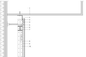 Detail Kopfpunkt EG, Akustikbekleidung, M 1:5