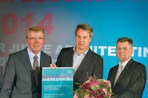 v.l.: Franz-Josef Britz, Bürgermeister der Stadt Essen, Dominikus Stark und Egon Galinnis, Geschäftsführer der Messe Essen