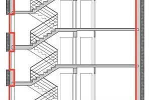 Die rote Linie markiert in der Werkplanung die exakte Lage der luftdichten Ebene. Sie soll das beheizte Volumen lückenlos umgeben<br />