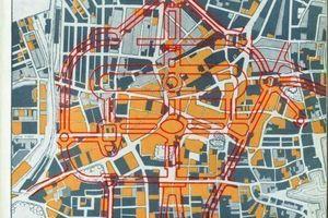 Proposed Central Layout: Überlagerung des historischen Stadtgrundrisses mit der Verkehrsplanung für die zukünftige Stadt