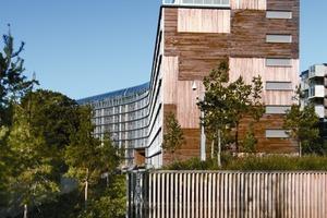 """<div class=""""10.6 Bildunterschrift"""">Der Wohnriegel im Westen des Quartiers bietet neben Appartements auch Maisonette-Wohnungen mit Größen bis zu 159 m²</div>"""