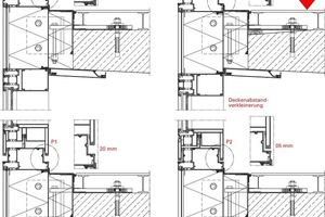 Abb. 9: Beispiel Elementfassade mit Bewegungsaufnahme einer Deckendurchbiegung von 15 mm
