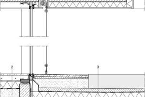 Fassadendetail begrüntes Dach, M 1:25<br />