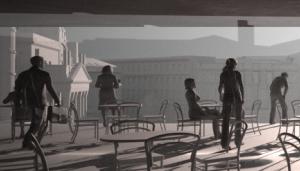 Das Fugengeschoss: Ausblick aus dem Wien Raum über den Karlsplatz