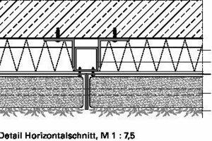 <p>1Bewässerungsanlage</p><p>2Zinkblech, Propylenharzbeschichtung</p><p>3Kies, Bitumenbahn</p><p>4Begrünte Fassade</p><p>5Zinkblech</p><p>6Dämmung</p><p>7Hohlprofil</p><br />