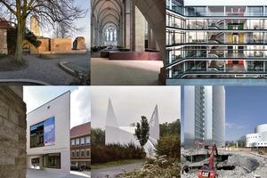 Unsere Auswahl, im Uhrzeigersinn von oben links: Besucherpavillon (Max Dudler), Kolumbarium (Staab Architekten), Hans-Sachs-Haus (gmp), LWL – Museum für Kunst und Kultur (Staab Architekten), Autobahnkirche Siegerland (schneider+schumacher), Dreischeibenhaus (HPP)