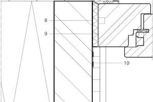 Abb. 5 (rechts): Fensteranschluss horizontal mit Alu-Fensterbank, seitlich mit Kork, Fenster bündig, seitl. hochgeführte Dicht- und Anschlussbahnen