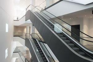 Die so genannte Kunstvertikale, ein über alle Ebenen geöffneter Luftraum, in welchem Rolltreppenanlagen hinauf oder hinabbefördern