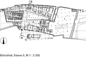 Grundriss Bibliothek, Ebene +0, M 1:2250<br />