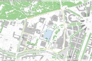 Lageplan mit Betrachtungsrahmen (orangefarbene Linie), Wettbewerbsgebiet (blaue Linie), Baufeld (blau eingefärbte Fläche) und möglichem Anschluss Neue Nationalgalerie (pinkfarbene Linie)