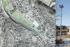 Links die Campusübersicht, rechts das noch recht wilde Bahnareal<br />