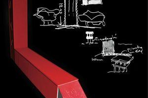 Massimiliano Fuksas, Container Haus für einen Künstler, 2010, Entwurfskizze für ein Atelier